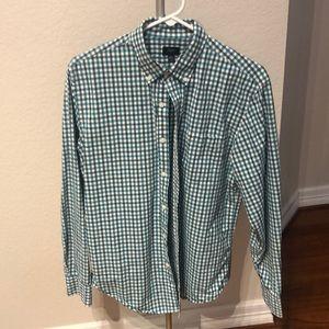 J Crew M Green Button Down Shirt